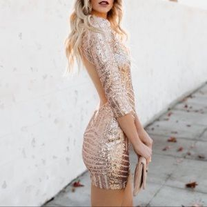 Vici Dolls Sabine Gold Sparkly Bodycon Dress